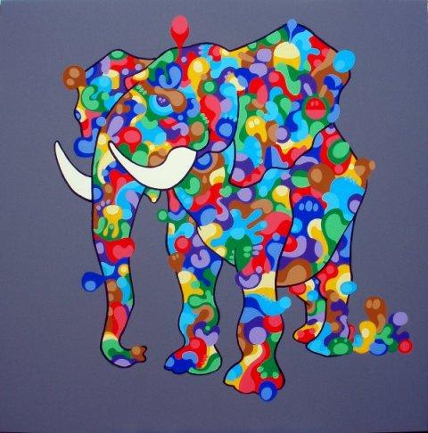 I, Elephant, 2013, acrilico su tela, 100×100