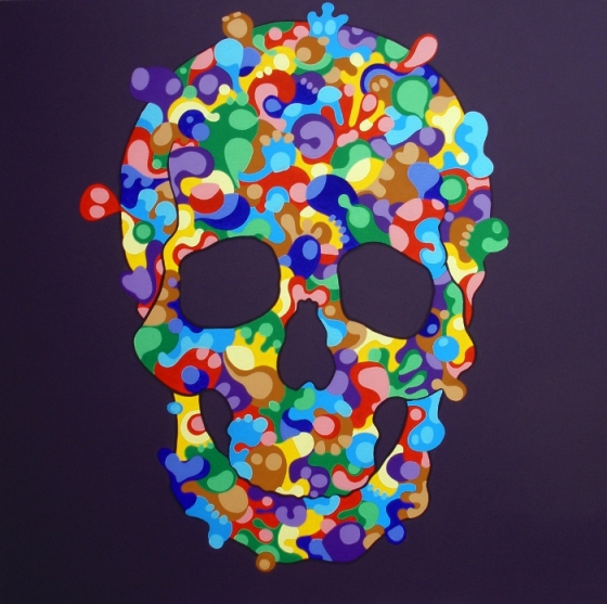 Back to skull, 2013, acrilico su tela, 100×100