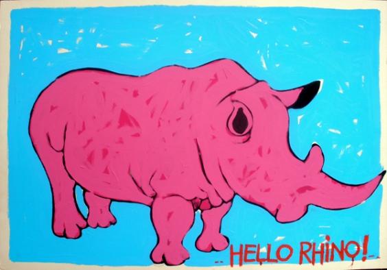 Hello Rhino cm 70x 100 - acrilic on cardboard € 60